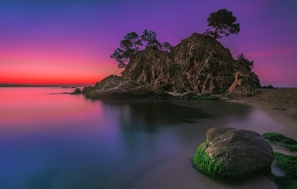 Picture beach, trees, landscape, sunset, rock, the ocean, stone, island
