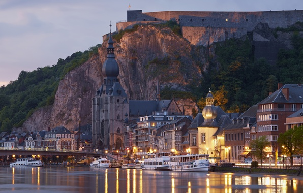 Picture sunset, bridge, lights, rock, river, France, home, the evening, lights, temple, fortress, ships, Lutzelbourg