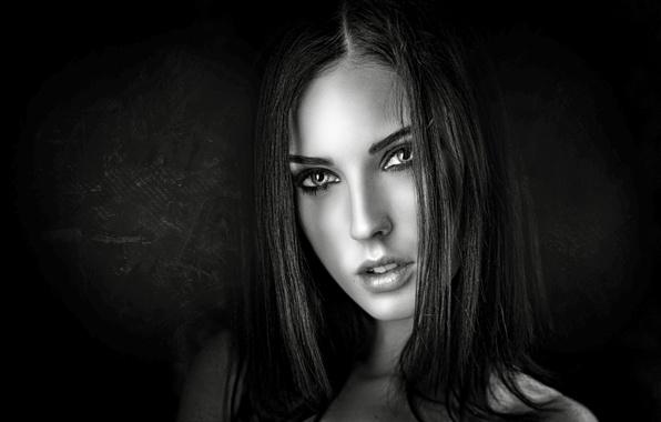 Picture eyes, look, girl, face, black background, George Chernyadev, Alla Berger