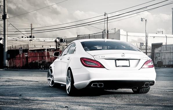 Photo wallpaper white, Mercedes-Benz, white, AMG, the rear part, Mercedes Benz, CLS-class, C218, CLS 63