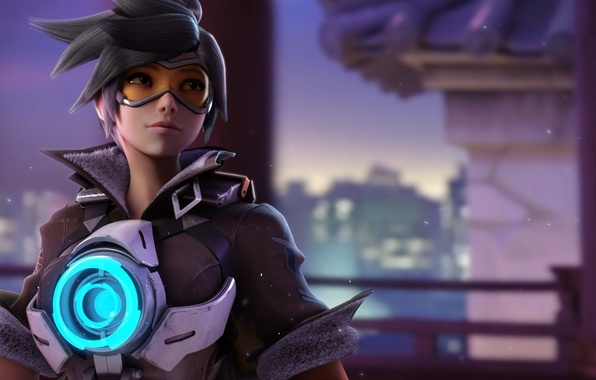 Picture girl, game, Overwatch, tracer