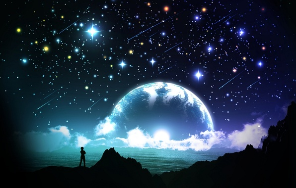 Picture sea, the sky, stars, clouds, night, people, planet, silhouette, art, and-k