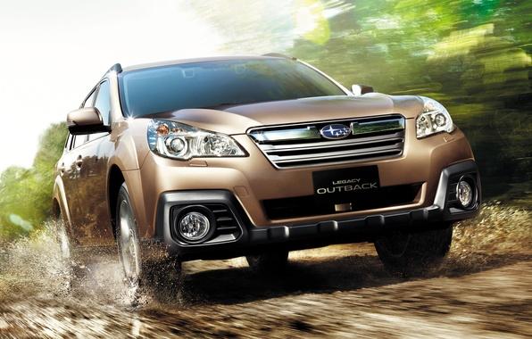 Picture Road, Subaru, Machine, Movement, Car, Car, Brown, Cars, Subaru, Legacy, Road, Brown, Outback, The Outback, …