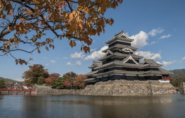 Picture leaves, water, branches, Japan, Japan, Matsumoto, Matsumoto, Matsumoto Castle, Matsumoto Castle, T-jo