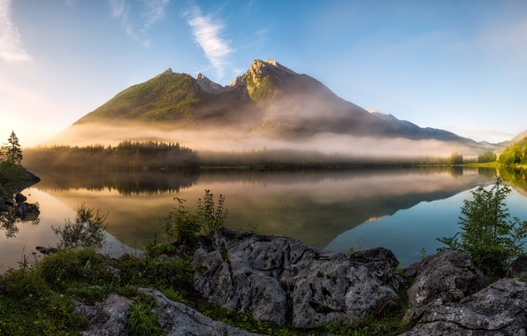 Picture mountains, fog, lake, morning, Germany, Bayern, Berchtesgaden Alps
