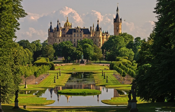 Picture the sky, clouds, trees, flowers, nature, Park, castle, Germany, garden, day, architecture, Schwerin