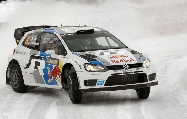 Picture Winter, Volkswagen, Machine, Turn, WRC, Rally, Polo, S. Ogier, D. Ingrassia