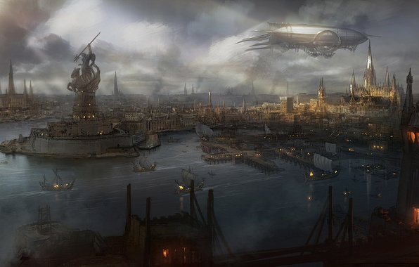 Picture water, the city, smoke, view, ships, art, the airship, statue