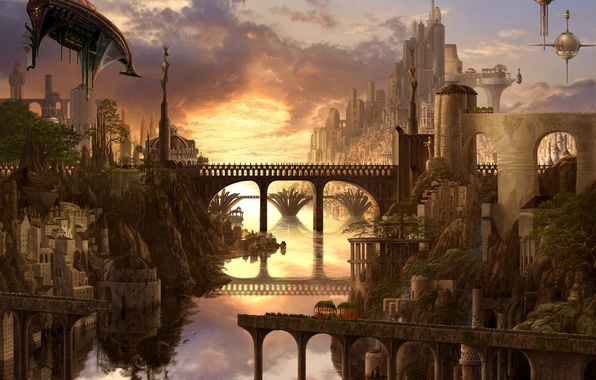 Picture bridge, the city, river, waterfall, art, ucchiey, if kazama uchio, airships