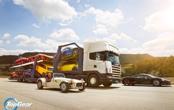 Picture Top Gear, Cars, Porsche 911, Truck, Scania, Trailer, Volkswagen Golf, Bentley Continental GT, BMW M4, …
