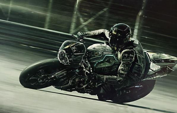 Picture black, turn, motorcyclist, track, Sport bike