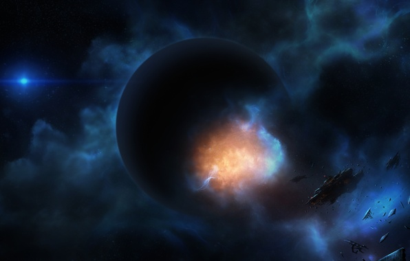 Picture the wreckage, space, the explosion, nebula, ship, planet, art