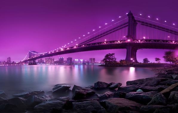 Picture water, night, lights, lights, stones, shore, New York, lighting, USA, USA, Brooklyn bridge, Manhattan, water, …