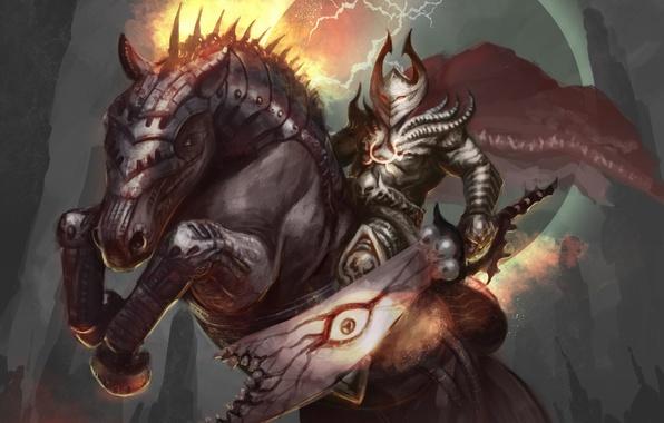 Picture horse, zipper, sword, warrior, art, armor, armor