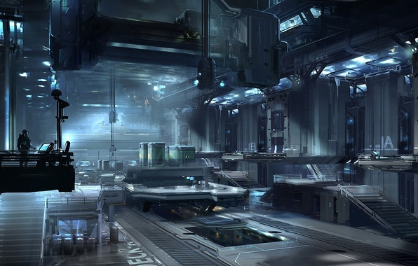 Picture metal, plant, people, art, hangar, the room, equipment, Halo 4