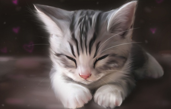 Picture cat, cat, face, kitty, figure, art, sleeping