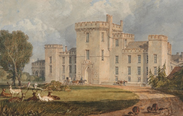 Picture road, animals, trees, landscape, castle, picture, watercolor, William Turner, View of Hampton Court, from the ...
