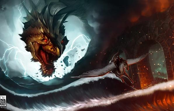 Picture sea, wave, bridge, zipper, dragon, smoke, art, rage, sparks, rider, arch, Pegasus, Antonio De Luca