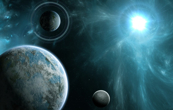 Picture energy, space, star, planet, ring, art
