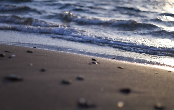 Picture sand, sea, wave, beach, water, macro, light, nature, stones, shore, Shine, shell, pebbles