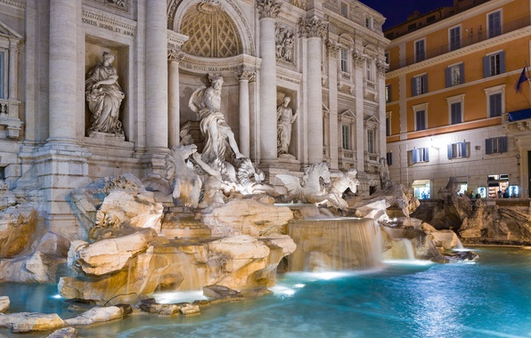 Picture night, lights, home, Rome, Italy, fountain, Trevi