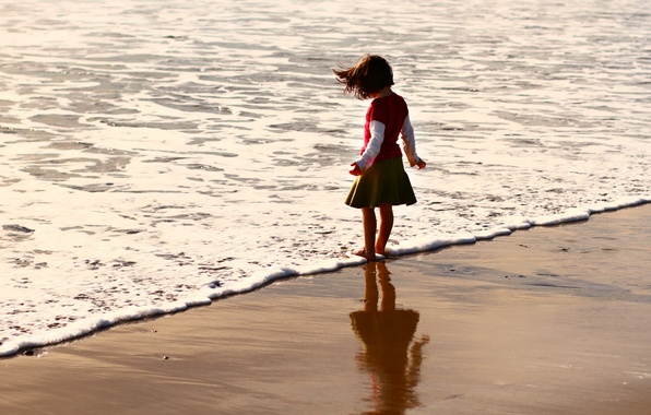 Picture sand, sea, beach, summer, water, children, background, Wallpaper, mood, wave, child, baby, brunette, girl, baby, …