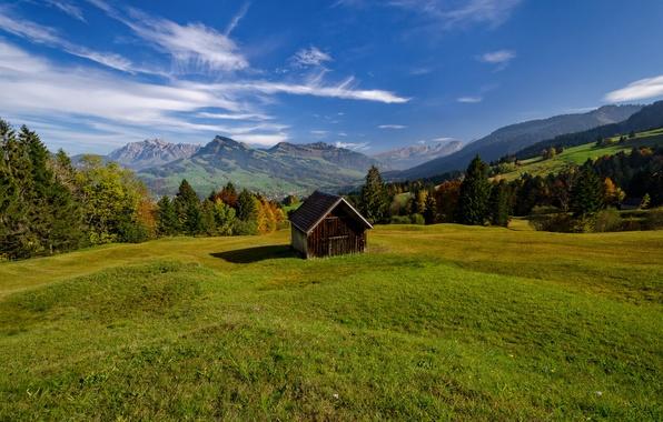 Picture mountains, Switzerland, valley, Alps, meadow, hut, Switzerland, Alps, Alpstein, Toggenburg, Toggenburg, Alpstein