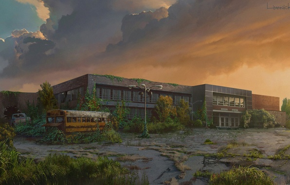 Picture the building, plant, art, bus, The Last of Us