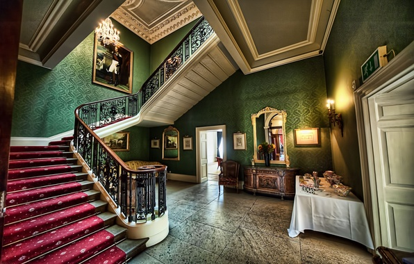 Picture wall, carpet, ladder, floor, walls, hall, floor, hall, stairs, carpet