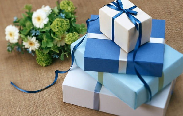 Picture flowers, blue, blue, plants, tape, gifts, holidays