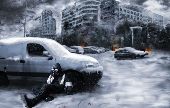 Picture snow, machine, the city, fire, smoke, ruins, Romance of the Apocalypse, Romantically apocalyptic, Snippy