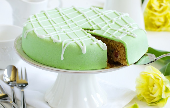 Picture flowers, green, cake, cake, dessert, cakes, glaze, dessert, baked