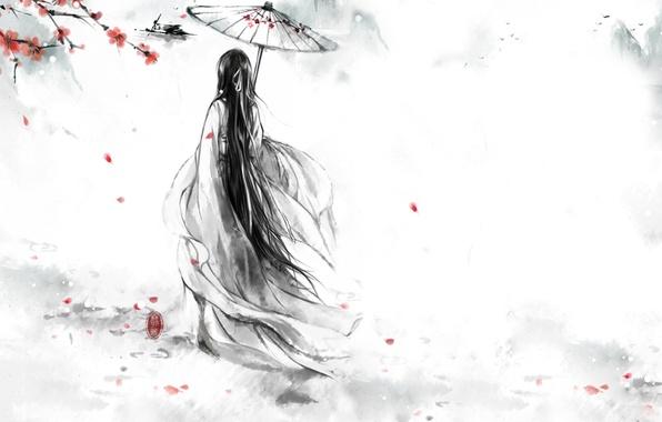 Picture girl, flowers, birds, red, umbrella, petals, Sakura, kimono, Monochrome, monochrome