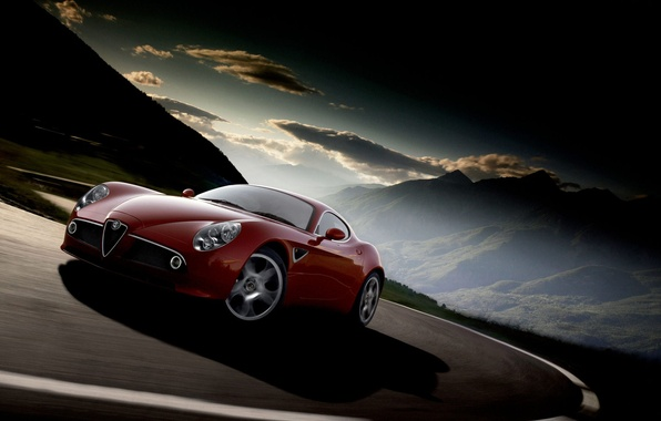 Picture road, clouds, mountains, alfa romeo
