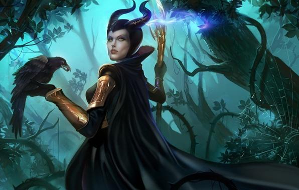 Picture forest, girl, web, art, staff, Raven, marvel, loki, maleficent
