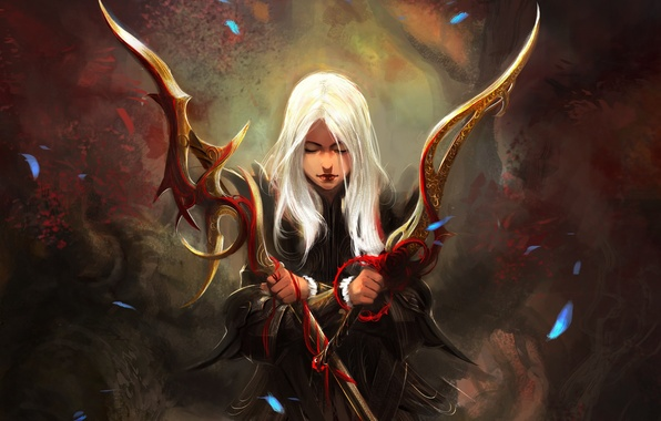 Picture girl, weapons, sword, fantasy, art, spear, white hair