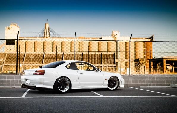 Picture white, S15, Silvia, Nissan, white, Nissan, tuning, rear, Silvia