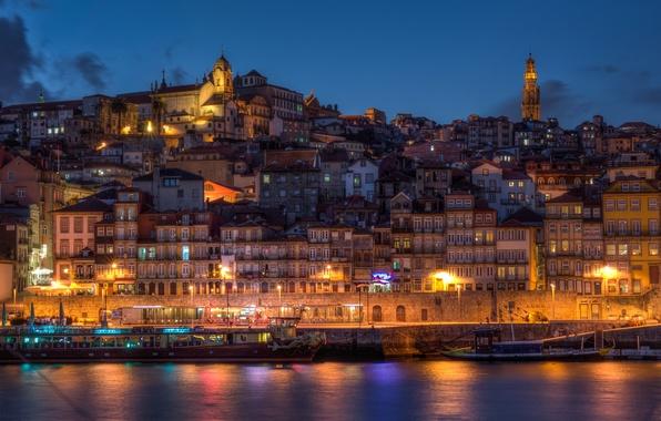 Picture the city, river, shore, coast, building, home, boats, the evening, Portugal, Portugal, Porto, Vila Nova …