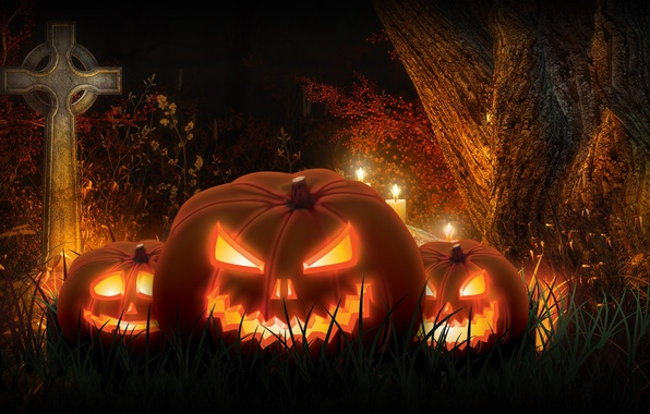 Photo wallpaper night, rendering, holiday, cross, pumpkin, Halloween
