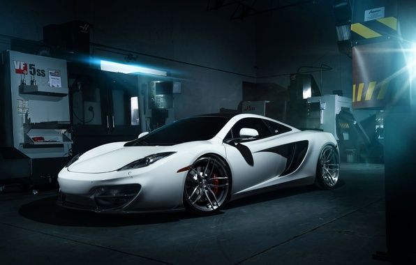 Picture McLaren, Front, MP4-12C, White, Wheels, Garage, ADV.1, Ligth
