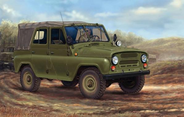 Picture machine, art, SUV, car, column, army, Soviet, UAZ-469