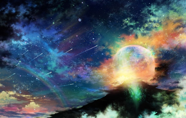 Picture the sky, stars, clouds, night, planet, mountain, rainbow, art, tsujiki