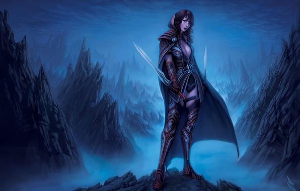 Picture girl, mountains, clouds, weapons, rocks, art, cloak, swords, gloomy, warrenlouw