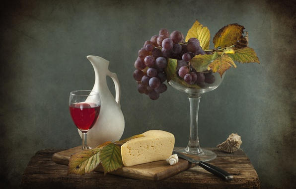 Picture wine, cheese, grapes, still life