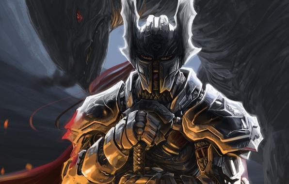 Picture weapons, monster, sword, warrior, art, helmet, armor, Romadka, Peter Balogh