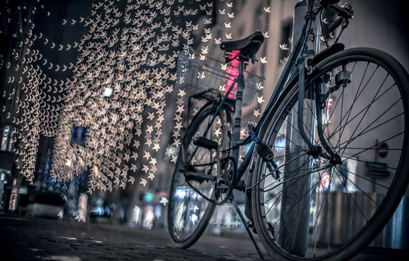 Picture road, night, bike, the city, lights, street, bokeh