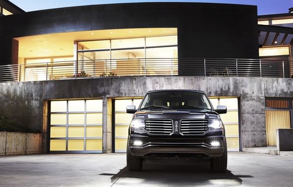 Picture The evening, Auto, Black, House, Machine, Light, Lights, SUV, The front, Lincoln Navigator