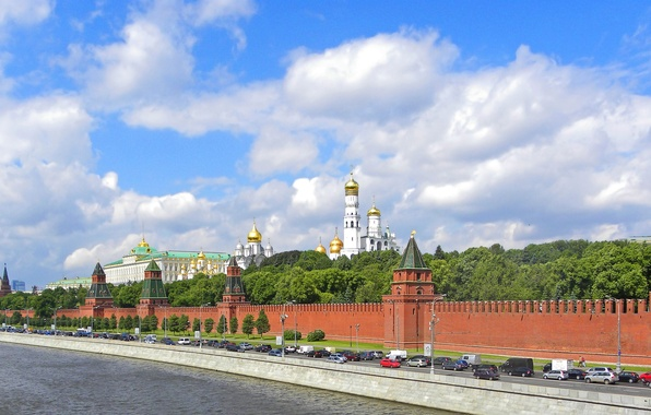 Picture road, river, panorama, Moscow, the Kremlin