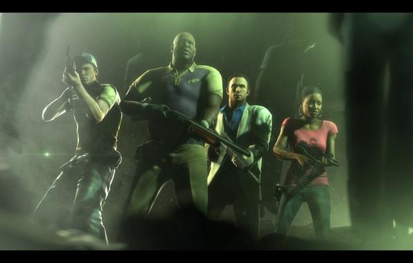Photo wallpaper Left 4 Dead 2, Valve, Ellis, FPS, Rochelle, Nick, Coach