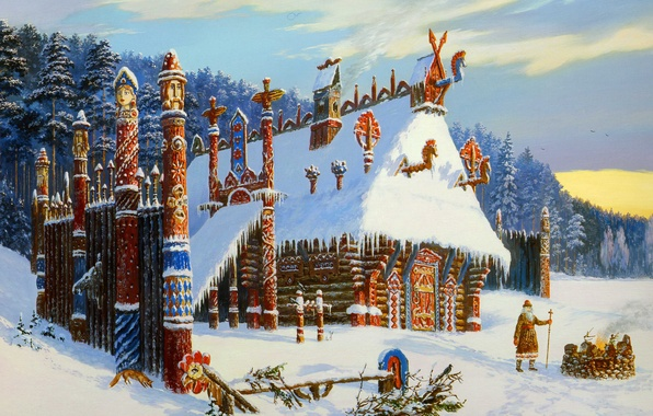 Picture winter, fire, smoke, temple, painting, Vsevolod Ivanov, Russian folklore, Slavic painting, the sorcerer, The temple …